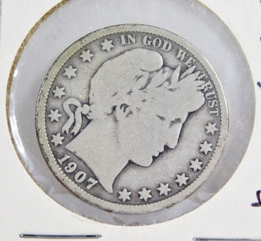 1907-D Silver Barber Half Dollar