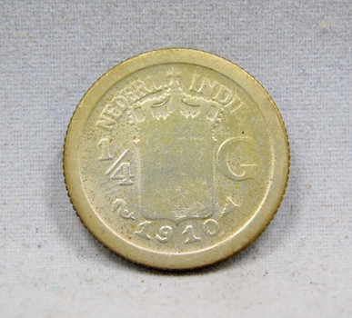 1910 Netherlands Antilles Silver 1/4 Gulden