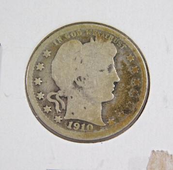 1910-D Silver Barber Quarter