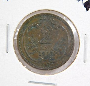 1912 Austria 2 Heller - High Grade