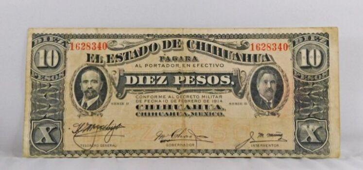 1914 Mexico 10 Pesos Crisp Note