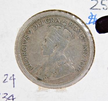 1916 Canada Silver 25 Cents