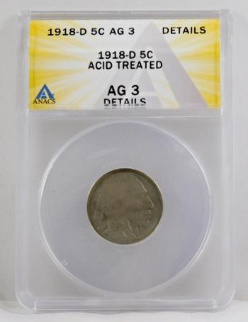 1918-D Buffalo Nickel - ANACS Graded