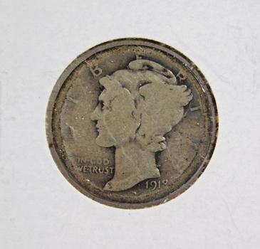1918-D Mercury Silver Dime Better Grade
