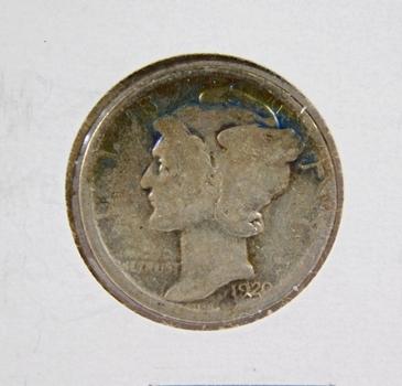 1920 Mercury Silver Dime Toned