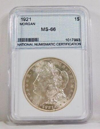 1921 Morgan Silver Dollar NNC Graded MS66
