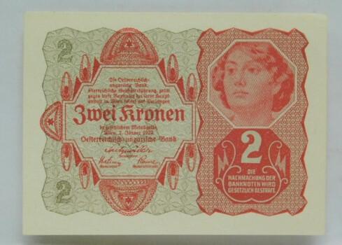 1922 Austrian 2 Kronen Crisp Banknote