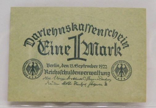 1922 German 1 Mark Crisp Post WW1 Note