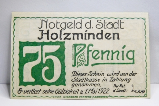 "1922 German WW1 Era ""Notgeld"" Emergency Paper Money 75 Pfennig*Crisp Uncirculated"