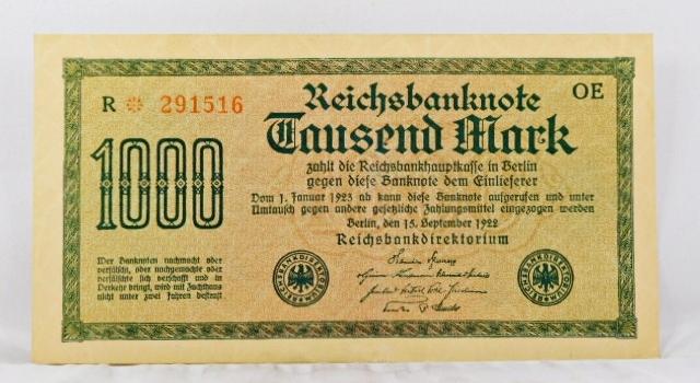 1922 Germany 1000 Mark Bank Note*Crisp Paper