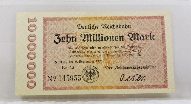 1925 Germany 10,000,000 Mark Bank Note*Crisp Paper