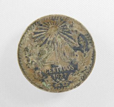 1927 Mexico Silver 20 Centavos