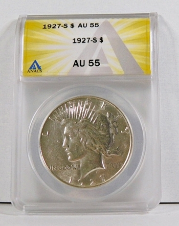 1927-S Peace Silver Dollar*Graded AU55 by ANACS