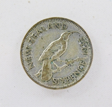 1933 New Zealand Silver 6 Pence