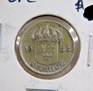 1936 Sweden Silver 25 Ore - High Grade