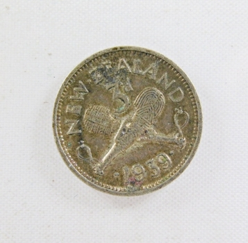 1939 New Zealand Silver 3 Pence*Nice Detail