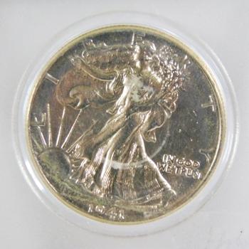 1941 Silver Walking Liberty Half Dollar*High Grade/Nice Luster in Protective Capsule*0.3617oz ASW