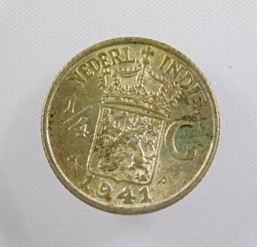 1941-P Silver Dutch-Indies 1/4 Gulden High Grade