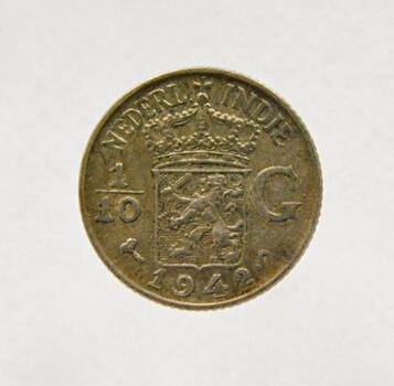 1942 Dutch East-Indies Silver 1/10 Gulden High Grade