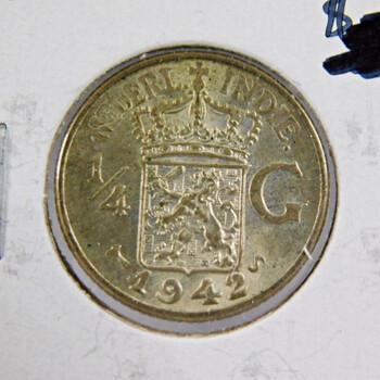 1942 Netherlands East Indies 1/4 Gulden Silver