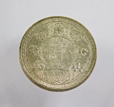 1944 India Silver 1/4 Rupee High Grade