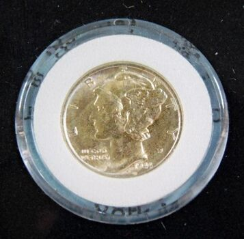 1944-S Silver Mercury Head Dime*High Grade with Nice Detail*Authenticated