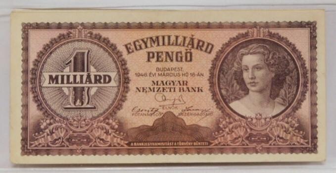 1946 Hungarian 1 Milliard Crisp Uncirculated Post WW2 Banknote