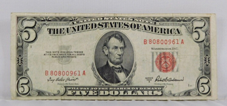 1953-A Series American 5 Dollar Red Seal Crisp Note Great Condition