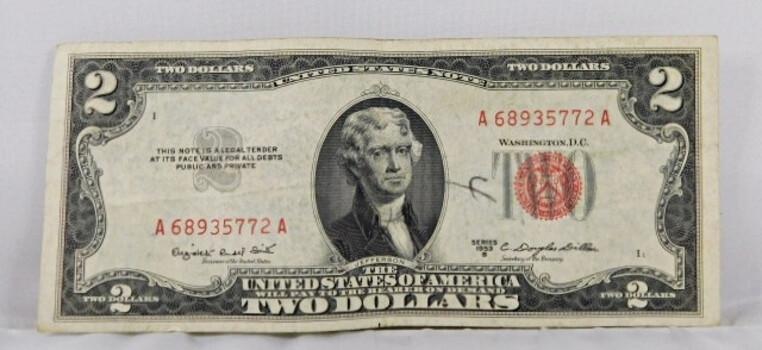 1953-B American 2 Dollar Red Seal Crisp Brilliant Condition