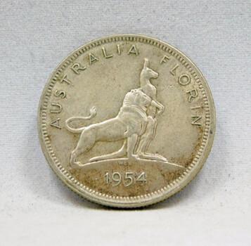 1954 Australia Silver Florin w/<Majestic Lion and Kangaroo