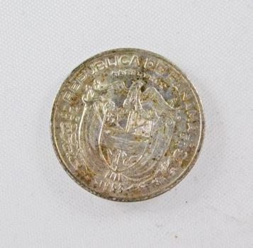 1955 Panama Silver 1/10 Balboa*Nice Detail