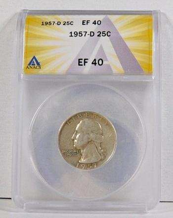 1957-D Silver Washington Quarter*Graded EF40 by ANACS*