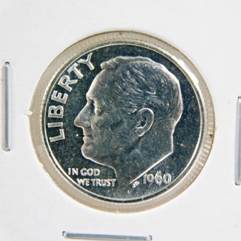 1960 Proof Silver Roosevelt Dime - Excellent Detail and DCAM