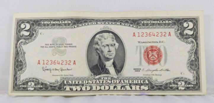1963 2 Dollar Red Seal Crisp Note High Grade