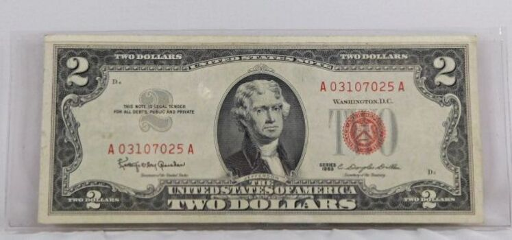 1963 2 Dollar Red Seal Note High Grade