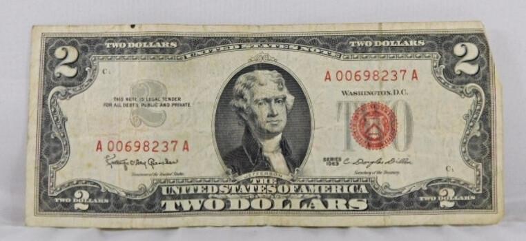 1963 American 2 Dollar Red Seal Crisp Brilliant Condition