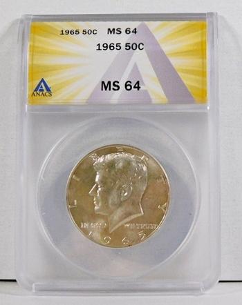 1965 Silver Kennedy Half Dollar*Graded MS64 by ANACS