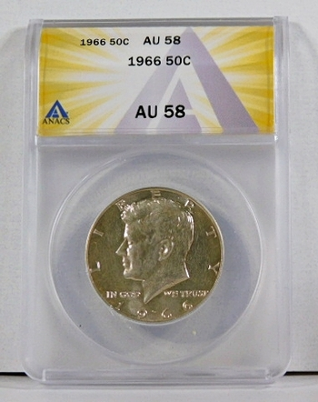 1966 Silver Kennedy Half Dollar*Graded AU58 by ANACS