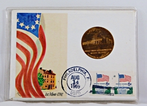 1969 Medallion of the Philadelphia Mint and 2 6c Stamps + History on the Medallion and Stamps