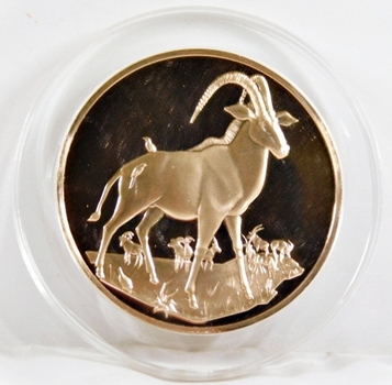 1971-72 East African Wild Life Society: 2+ Troy oz Pure Bronze; ANTELOPES - In Protective Capsule, Franklin Mint, 51mm Proof