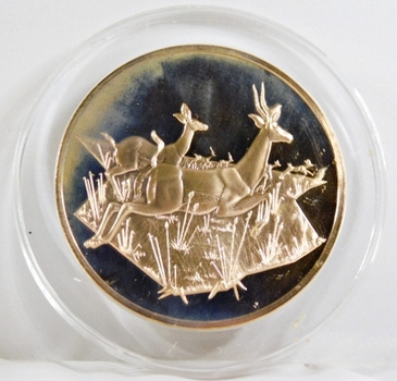 1971-72 East African Wild Life Society: 2+ Troy oz Pure Bronze; GAZELLES - In Protective Capsule, Franklin Mint, 51mm Proof