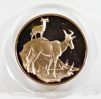 1971-72 East African Wild Life Society: 2+ Troy oz Pure Bronze; HARTEBEESTS - In Protective Capsule, Franklin Mint, 51mm Proof