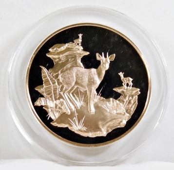 1971-72 East African Wild Life Society: 2+ Troy oz Pure Bronze; KLIPSPRINGERS - In Protective Capsule, Franklin Mint, 51mm Proof