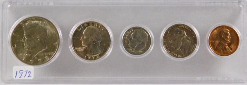 1972 Coin Set Cent Nickel Dime Quarter Half Dollar All Are High Grade