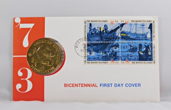 1973 Bicentennial FDC - Bronze Commemorative Medal of American Revolution Plus Four 8c Stamps - In Original Packaging