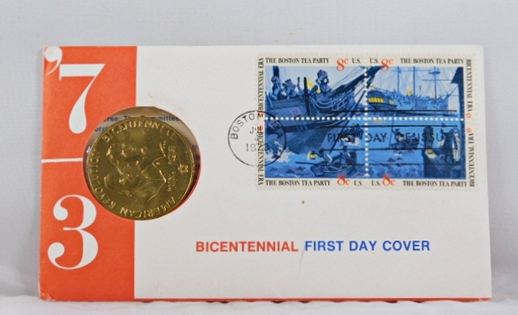 1973 Bicentennial First Day Cover with Bronze Medallion and 4 8c Stamps