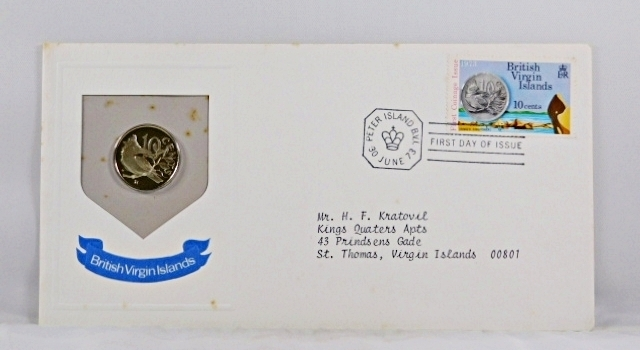 1973 British Virgin Islands 10c Coin and 10c Stamp in FDC + COA