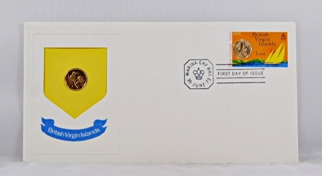 1973 British Virgin Islands 1c Coin and 1c Stamp in FDC + COA