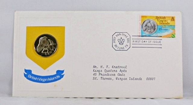 1973 British Virgin Islands 25c Coin and 25c Stamp in FDC + COA