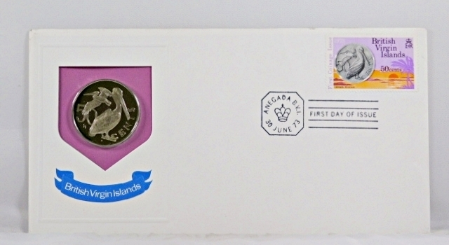1973 British Virgin Islands 50c Coin and 50c Stamp in FDC + COA